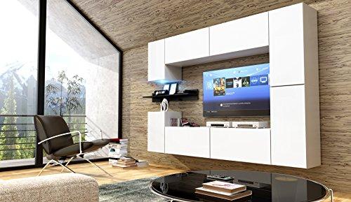 FUTURE 13 Moderne Wohnwand, Exklusive Mediamöbel, TV-Schrank, Neue Garnitur, Große Farbauswahl (RGB LED-Beleuchtung Verfügbar) (Weiß MAT base / Weiß MAT front, Möbel)