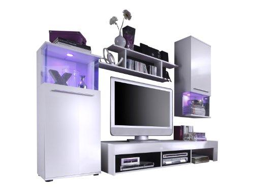 trendteam PU Wohnwand Wohnzimmerschrank Anbauwand | Weiß Glanz | 228 x 183 cm | inkl. Beleuchtung