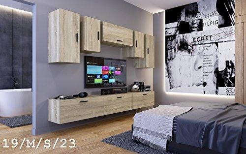 Wohnwand FUTURE 19 Moderne Wohnwand, Exklusive Mediamöbel, TV-Schrank, Neue Garnitur, Große Farbauswahl (19_M_S_23, ohne LED)