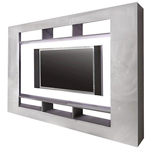 trendteam SD Wohnwand TV Möbel   Weiß Hochglanz   Beton Industry   216 x 160 cm