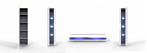 Wohnwand Vigo New VI Anbauwand, Design Mediawand, Modernes Wohnzimmer set, Hängeschrank TV Lowboard, Vitrine (mit blauer LED Beleuchtung, Weiß / Grau Hochglanz)