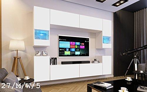 FUTURE 27 Wohnwand Anbauwand Wand Schrank Möbel TV-Schrank Wohnzimmer Wohnzimmerschrank Matt Weiß Schwarz LED RGB Beleuchtung (27/M/W/5, LED rot)