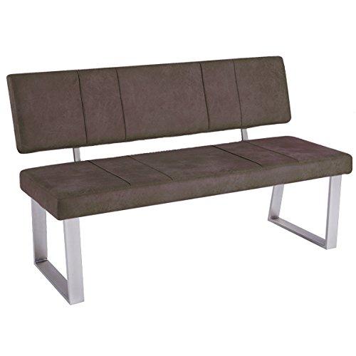 bank mit r ckenlehne sitzbank santa trieste sitz kunstleder gestell edelstahl look vintage. Black Bedroom Furniture Sets. Home Design Ideas