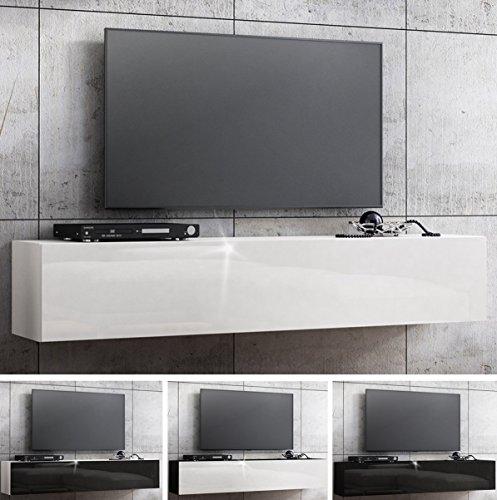 tv lowboard h ngeboard hochglanz board schrank tisch 160cm korpus matt schwarz front wei. Black Bedroom Furniture Sets. Home Design Ideas