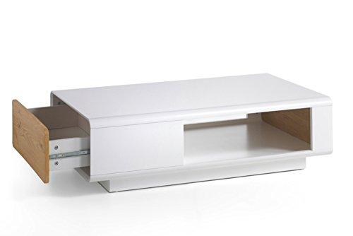 design couchtisch corin original mca edelmatt wei 110 cm asteiche mit schublade und rollen. Black Bedroom Furniture Sets. Home Design Ideas