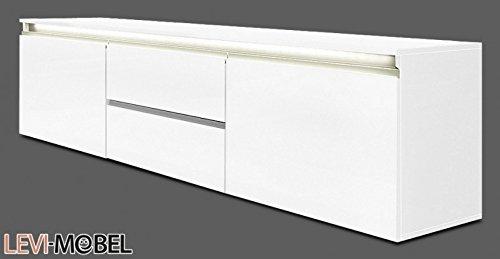 lowboard anbauwand wohnzimmer wohnwand wei hochglanz 180. Black Bedroom Furniture Sets. Home Design Ideas