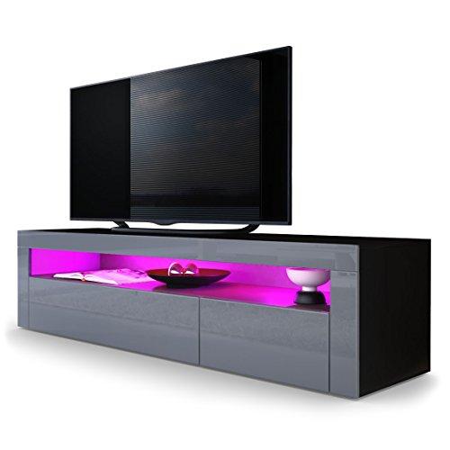 tv board lowboard valencia korpus in schwarz matt front in grau hochglanz mit rahmen in grau. Black Bedroom Furniture Sets. Home Design Ideas