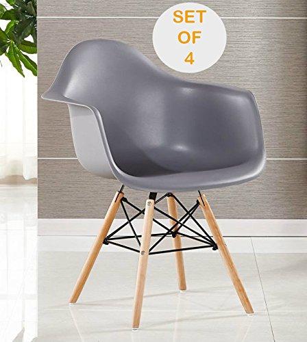 p n homewares set von 4 moda arm stuhl kunststoff retro esszimmer st hle wei schwarz grau. Black Bedroom Furniture Sets. Home Design Ideas