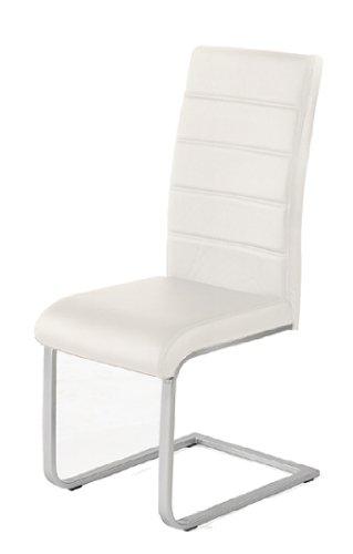 4 x design stuhl freischwinger piet 32 kunstleder weiss for Design stuhl freischwinger piet 30