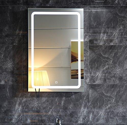 Badspiegel lichtspiegel gs041 mit led beleuchtung touch schalter wandspiegel 50x70cm - Badspiegel led touch ...