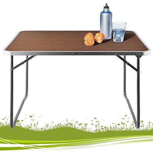 Alu Campingtisch Tisch Holzoptik Gartentisch Beistelltisch Klapptisch Balkontisch klappbar Maße: 80 x 60 x 70 cm (B/T/H)