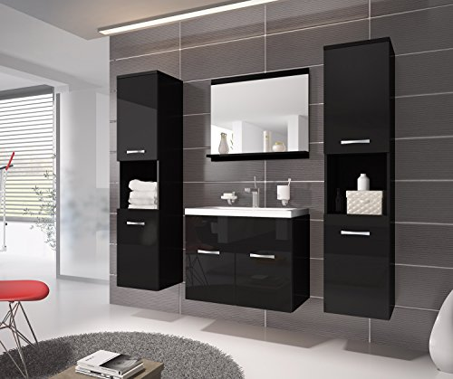 badezimmer badm bel montreal xl 60 cm waschbecken schwarz hochglanz fronten unterschrank. Black Bedroom Furniture Sets. Home Design Ideas