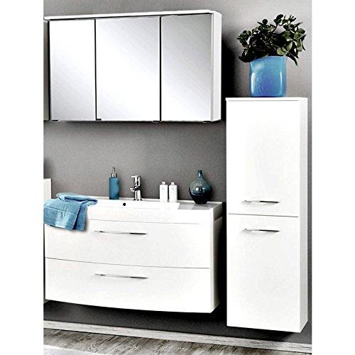 badm bel set hochglanz wei 3 teilig waschtisch badezimmer badezimmerm bel led spiegelschrank. Black Bedroom Furniture Sets. Home Design Ideas