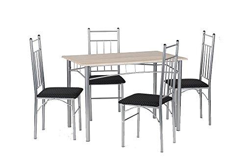 cavadore tischgruppe manu tisch in sonoma eiche foliert 4 st hle mit stoffbezug in schwarz. Black Bedroom Furniture Sets. Home Design Ideas