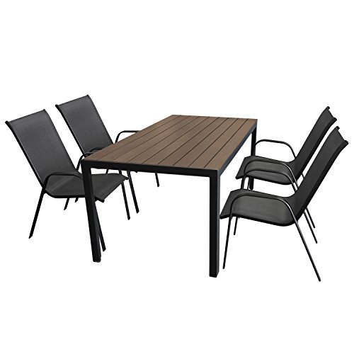 gartenm bel set aluminium gartentisch mit polywood tischplatte 150x90cm 4x stapelstuhl mit. Black Bedroom Furniture Sets. Home Design Ideas