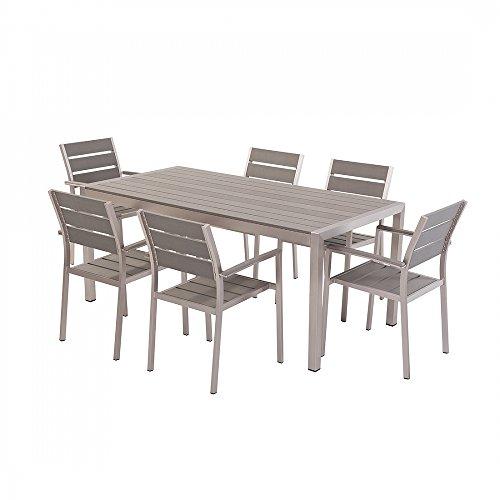 Gartenmöbel Set Polywood grau 6-Sitzer VERNIO