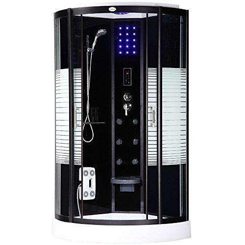 home deluxe black pearl 90x90 cm duschtempel inkl dampfsauna und komplettem zubeh r m bel24. Black Bedroom Furniture Sets. Home Design Ideas