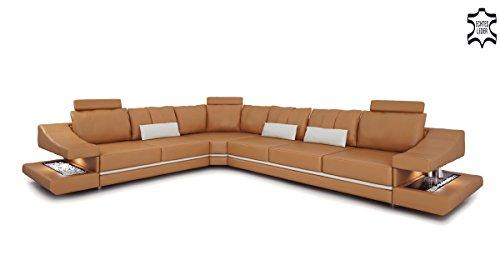 Ledersofa Eckcouch L-Form cognac weiß Ecksofa Wohnlandschaft Leder Sofa Couch Ledercouch mit LED-Licht Beleuchtung Designsofa STUTTGART