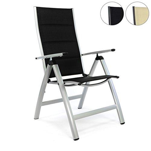 nexos deluxe alu klappstuhl gepolstert schwarz gartenstuhl. Black Bedroom Furniture Sets. Home Design Ideas