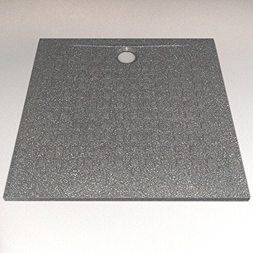 UneSalleDeBain RSOLSS90NG Résisol Duschwanne, besonders flach, Dicke 2,5 cm, 90 x 90 cm, schwarzes Granit-Design