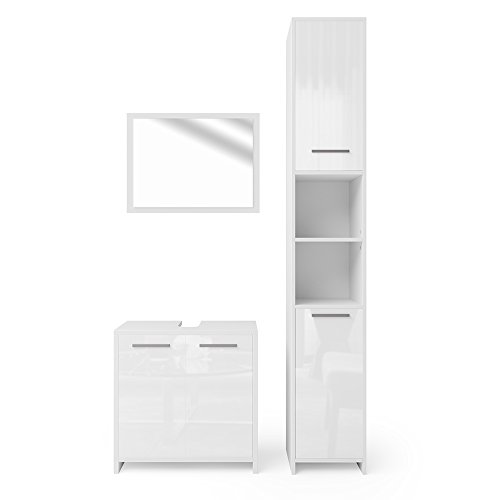 vicco badm bel set kiko wei hochglanz grau beton. Black Bedroom Furniture Sets. Home Design Ideas