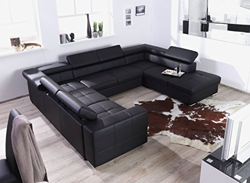 xxl wohnlandschaft couch cary u form lederoptik schwarz mit schlaffunktion ottomane. Black Bedroom Furniture Sets. Home Design Ideas