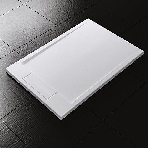 90x120x4 cm Design Duschtasse Duschwanne Geoma04 in Weiß, aus Mineralguss, Mineralgusswanne