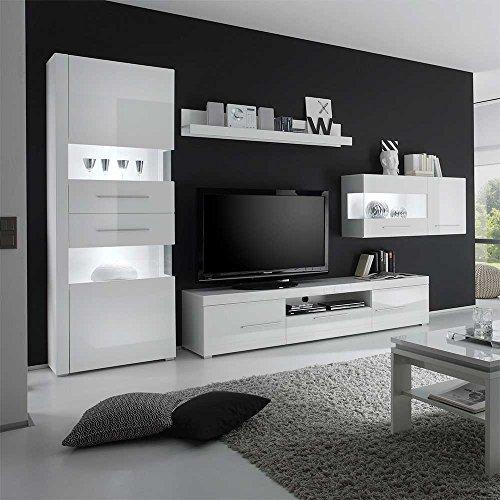 Design Wohnwand in Hochglanz Weiß 340 cm (4-teilig) Ohne Beleuchtung Pharao24