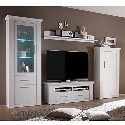 Design Wohnwand in Weiß skandinavisch (4-teilig) Ohne Beleuchtung Pharao24