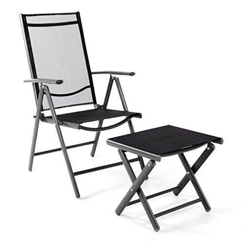 klappstuhl gartenstuhl campingstuhl liegestuhl mit hocker rahmen anthrazit sitzm bel garten. Black Bedroom Furniture Sets. Home Design Ideas