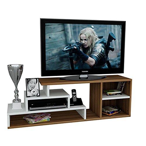 LUCA Wohnwand - TV Lowboard - TV Board - Fernsehtisch in modernem Design (Weiß / Nussbaum)