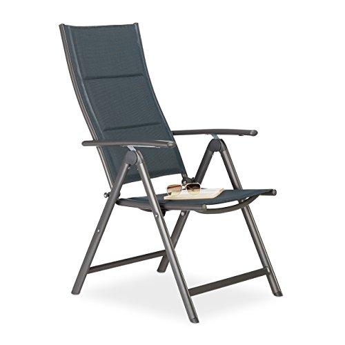 relaxdays gartenstuhl hochlehner klappbar r ckenlehne verstellbar gepolstert anthrazit. Black Bedroom Furniture Sets. Home Design Ideas