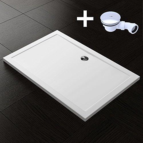TBH: 80x90x4cm Design Duschtasse Faro2 in Weiß, inkl. Ablaufgarnitur AL02, Duschwanne, Acrylwanne
