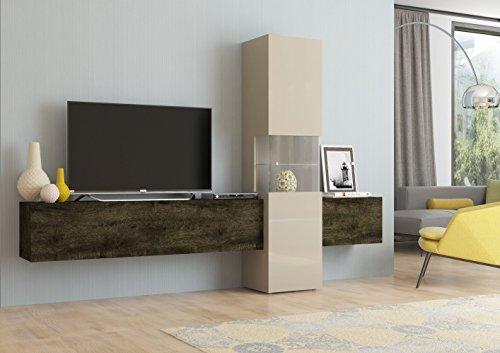 Wohnwand | Mediawand | Wohnzimmer-Schrank | Fernseh-Schrank | TV Lowboard | sandfarben/Eiche dunkel | Incontro