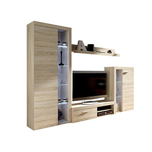 Wohnwand Rango, Design Wohnzimmer set, Modernes Anbauwand, Schrankwand, Vitrine, TV Lowboard, Mediawand, (mit Beleuchtung, Sonoma Eiche)