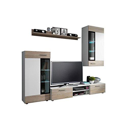 Wohnwand Twist, Design Modernes Wohnzimmer set, Anbauwand, Schrankwand, Vitrine, TV Lowboard, Mediawand, (mit weißer LED Beleuchtung, Weiß / Eiche Sonoma + Weiß)