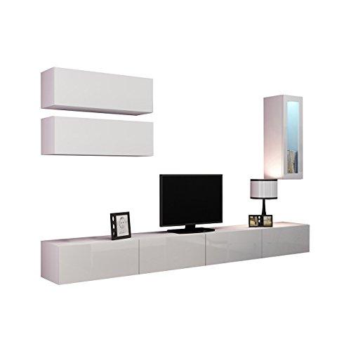 Wohnwand VIGO XII Anbauwand Modernes Wohnzimmer set, Farbauswahl, Mediawand, Glasvitrine, Hängeschrank TV-Schrank (mit blauer LED Beleuchtung, Weiß / Weiß Hochglanz)