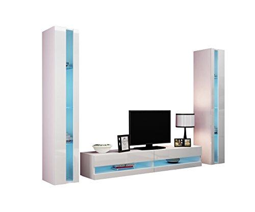 Wohnwand Vigo New III Anbauwand, Design Mediawand, Modernes Wohnzimmer set, Hängeschrank TV Lowboard, Vitrine (mit blauer LED Beleuchtung, Weiß / Weiß Hochglanz)