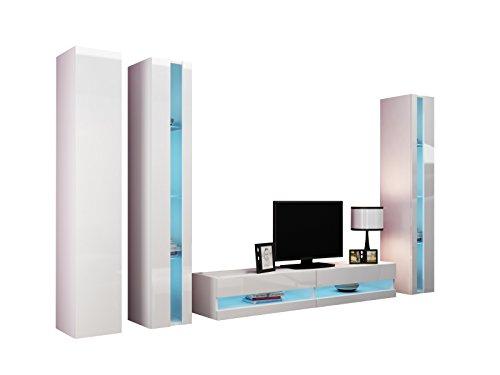 Wohnwand Vigo New VI Anbauwand, Design Mediawand, Modernes Wohnzimmer set, Hängeschrank TV Lowboard, Vitrine (ohne Beleuchtung, Weiß / Weiß Hochglanz)