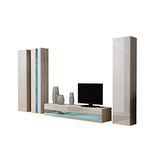 Wohnwand Vigo New VII, Design Mediawand, Modernes Wohnzimmer set, Anbauwand, Hängeschrank TV Lowboard, Vitrine (mit weißer LED Beleuchtung, Eiche Sonoma / Weiß Hochglanz)