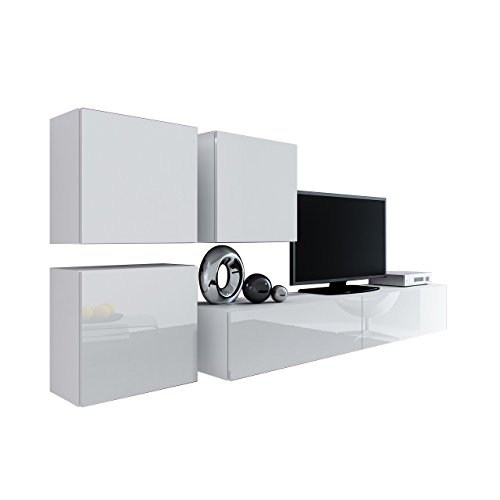 Wohnwand Vigo XXIII, Design Mediawand, Modernes Wohnzimmer set, Anbauwand, Hängeschrank TV Lowboard, (Weiß / Weiß Hochglanz)