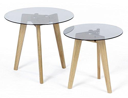 ts ideen 2er set design glastische beistelltische rund holz eiche kaffeetisch couchtisch. Black Bedroom Furniture Sets. Home Design Ideas