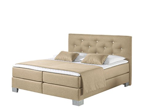 Maintal Boxspringbett Kingston, 160 x 200 cm, Stoff, 7-Zonen-Taschenfederkern Matratze h3, Beige