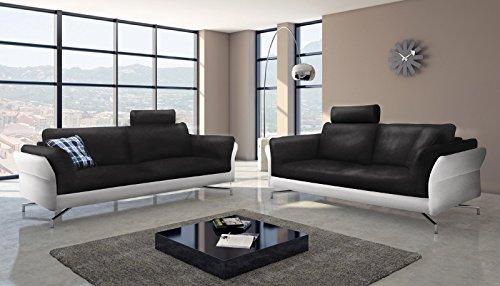 SAM® Design Sofa Garnitur Vivano 2 + 3 Sitzer in schwarz weiß stilvolle Couchgarnitur pflegeleichte Oberfläche Kopfstütze optional anbringbar Aluminiumfüße bequeme Polsterung