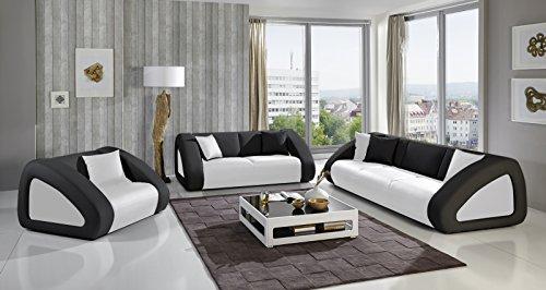 SAM® Sofa Garnitur Ciao Combi 3 - 2 - 1 weiß / schwarz / schwarz designed by Ricardo Paolo® Wohnlandschaft mit Dreisitzer, Zweisitzer und Sessel