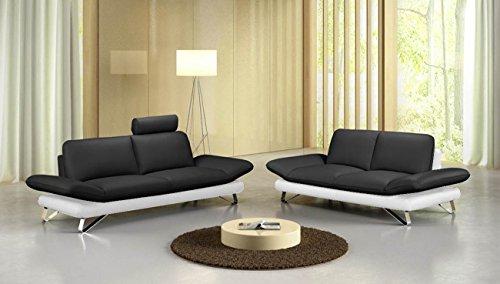 SAM® Sofa Garnitur Negro, schwarz/weiß, 1x 2 Sitzer ca. 192 cm +1 x 3 Sitzer ca. 212 cm, pflegeleicht, bequeme Polsterung und modernes Design optional anbringbare Kopfstütze, verchromte Winkelfüße