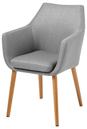 AC Design Furniture 60350 Armstuhl Trine, 58 x 58 x 84 cm, Sitz/Rücken Stoff Corsica, hellgrau
