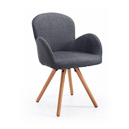 Homcom® Esszimmerstuhl Wohnzimmerstuhl Armsessel Sessel Stuhl Küchenstuhl Leinen Holz (grau)