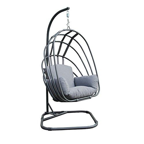 OUTLIV. Hängesessel mit Gestell Suez Loungekorb/Hängekorb faltbar Stahl/Textil Grau Sessel Garten