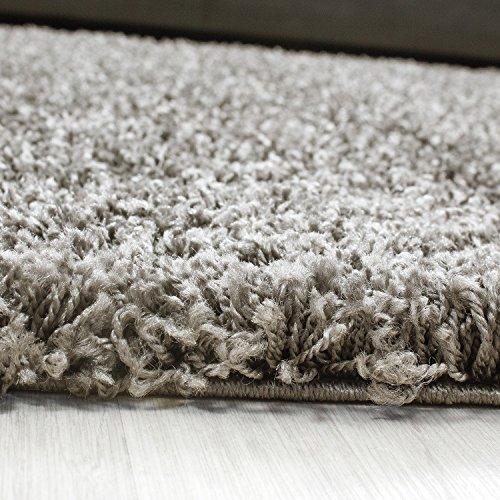 Hochflor Langflor Wohnzimmer Shaggy Teppich Florhöhe 3cm unifarbe - Taupe, 160x230 cm